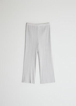 Pleats Please Issey Miyake Women's Cropped Basics Pant in Light Grey, Size 3