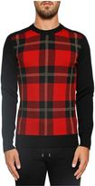 Balmain Tartan Printed Wool Blend Sweater