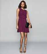 Reiss Marianne - Wrap Front Mini Dress in Berry