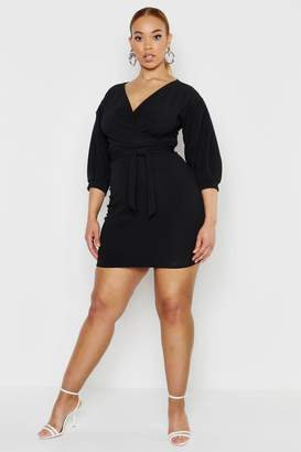 boohoo Plus Plunge Off Shoulder Tie Front Wrap Dress