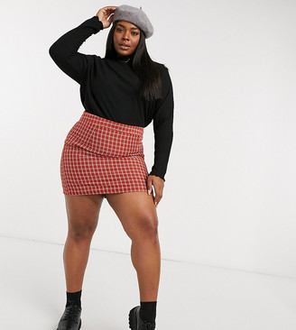 Heartbreak Plus tailored mini skirt in rust windowpane check