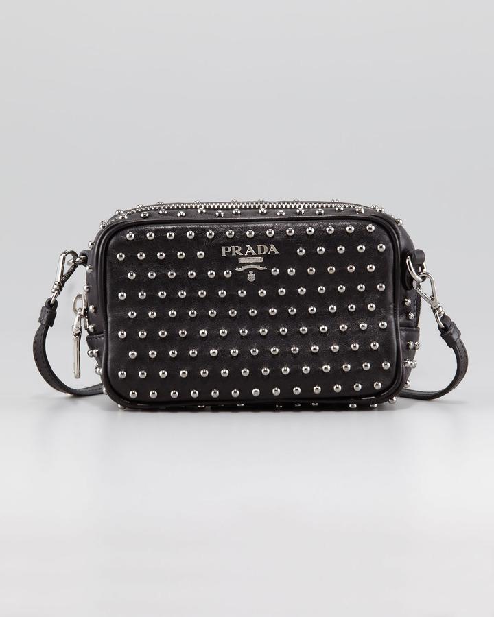 Prada Soft Calfskin Studded Crossbody Bag, Extra-Small