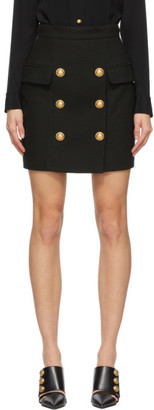 Balmain Black Double-Buttoned Miniskirt