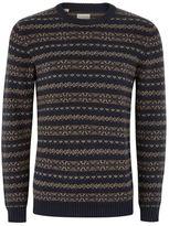 Selected Navy Fairisle Knit Sweater
