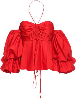 Johanna Ortiz Makuna Convertible Off-the-shoulder Cotton-blend Poplin Top