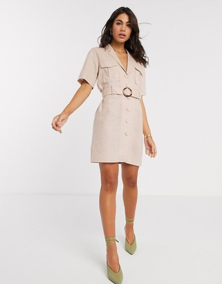 ASOS DESIGN linen utility wrap mini dress with buckle