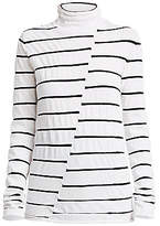 Proenza Schouler White Label Women's Striped Asymmetric Turtleneck Top