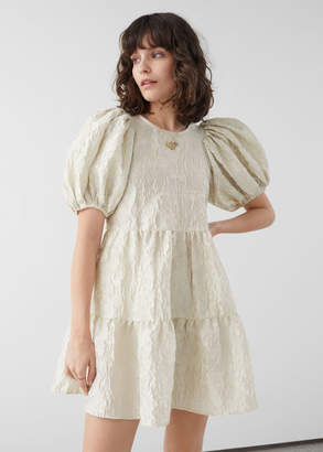 And other stories Puff Sleeve Jacquard Mini Dress