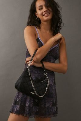 Urban Outfitters Quilted Chain Shoulder Bag - Black ALL at