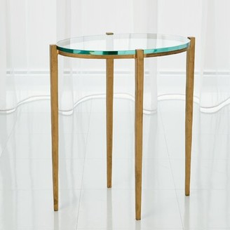 Global Views Petite Oval End Table Table Base Color: Antique Gold