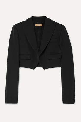 Michael Kors Cropped Wool-gabardine Blazer - Black