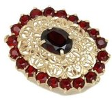 Tatitoto Gioie Women's Brooch in 18k Gold with Garnet, 10 Grams