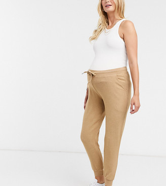 ASOS DESIGN Maternity supersoft trackie with metal tie ends in camel