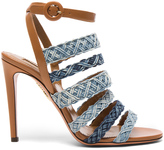 Aquazzura Braided Denim Tyra Heels