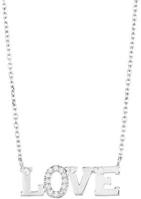 Anzie Rhodium-Plated Sterling Silver & White Sapphire Love Necklace