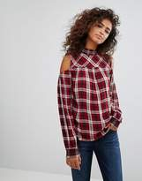 Esprit Cold Shoulder Checked Top