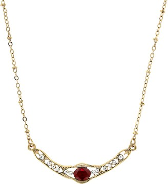 1928 Gold Tone Red Simulated Crystal Statement Necklace