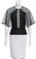 Temperley London Lace-Accented Bell Sleeve Top