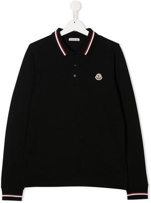 Moncler Enfant TEEN embroidered-logo long-sleeve polo