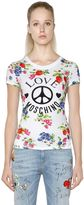 Love Moschino Floral Printed Cotton Jersey T-Shirt