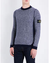 Stone Island Contrast Reversed-effect Wool-blend Jumper