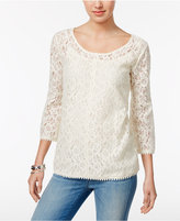 Style&Co. Style & Co Lantern-Sleeve Lace Top, Only at Macy's