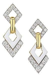 David Webb Women's Motif 18K Yellow Gold, Platinum, White Enamel & Double Diamond Interlocking Earrings