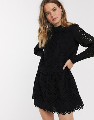Vero Moda broderie smock dress with high neck in black