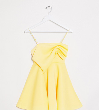 ASOS DESIGN Petite exclusive tuck detail cami skater mini dress in lemon