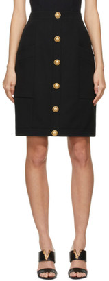 Balmain Black Wool High-Waisted Skirt