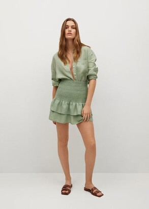 MANGO Ruffled linen miniskirt