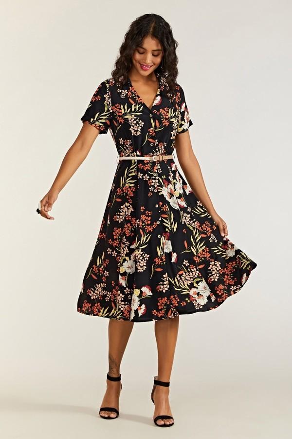 Yumi Botanical Fern Print Shirt Dress With Be