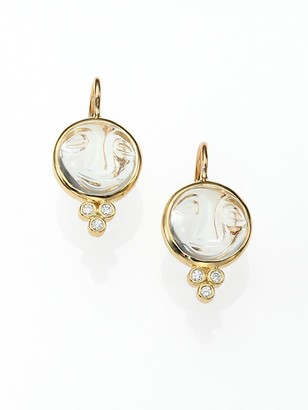 Temple St. Clair Celestial Rock Crystal, Diamond & 18K Yellow Gold Small Moonface Earrings