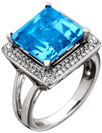 Mystic Light Diamond Blue Topaz Square Cut Cocktail Ring