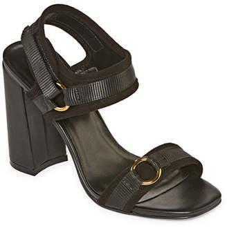 Nicole Miller Nicole By Womens Blankslate Open Toe Block Heel Pumps