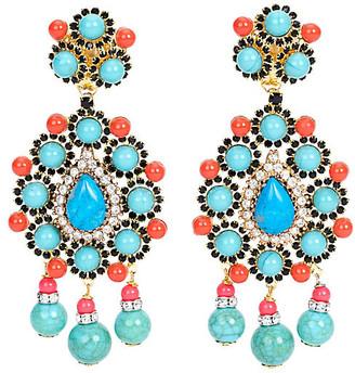 One Kings Lane Vintage Vrba Faux-Turquoise Earrings - Vintage Lux