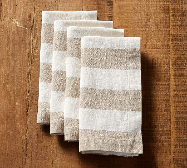 Pottery Barn Wheaton Wide Stripe Napkin- Flax