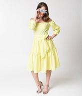 Unique Vintage Lemon Yellow Off Shoulder Half Sleeve Prairie Swing Dress