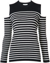Just Female cut-out shoulders striped T-shirt
