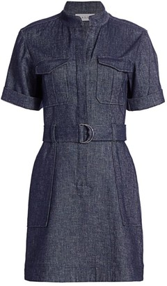 A.L.C. Romi Linen-Chambray Short-Sleeve Belted Dress