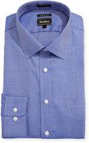 Neiman Marcus Trim-Fit Regular Finish Check Dobby Dress Shirt, Blue