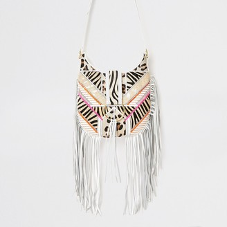 River Island White fringe animal cross body messenger bag