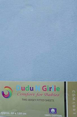 Dudu N Girlie Cotton Jersey Cot Bed Fitted Sheets, 2-Piece, Blue