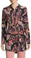 Etro Belted Paisley-Print Silk Tunic