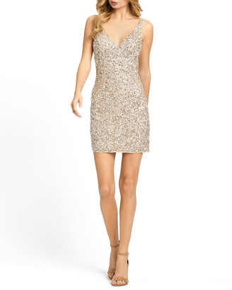 Mac Duggal V-Neck Sequin Mini Cocktail Dress