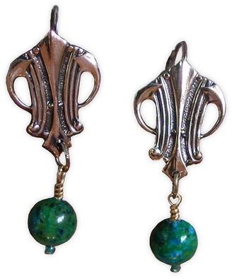 Elaine Coyne Galleries Handmade Polished Mirror Antique Art Deco Earrings - Chrysocolla