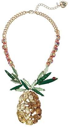 Betsey Johnson Large Pineapple Statement Necklace
