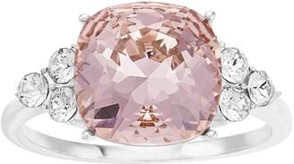 Brilliance+ Brilliance Silver Tone Vintage Rose Swarovski Crystal Cushion Ring