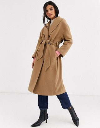 And other stories & tie-waist wool coat in camel-Brown