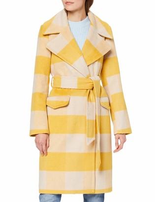 Miss Selfridge Women's Ochre CHCK WRAP Coat Wool Blend 14